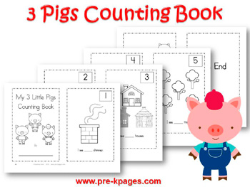 Three Little Pigs Printable Counting Book {1-5}