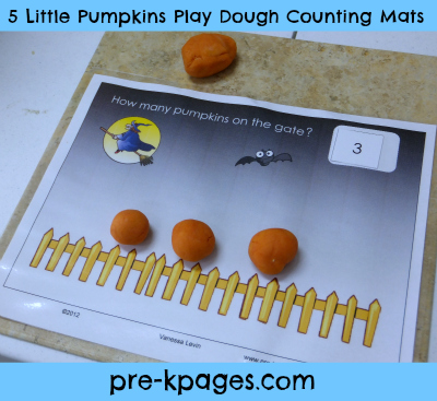 Free printable 5 little pumpkins play dough counting mats and more Halloween activities for preschoolers