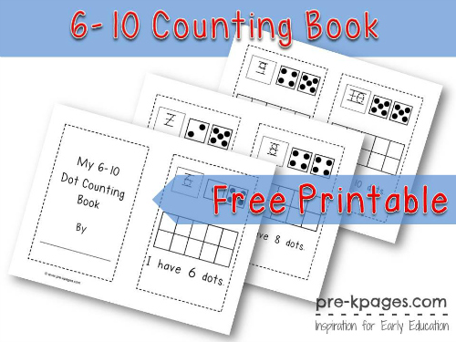 Free Printable Dot Counting Book {6-10} for Preschool and Kindergarten