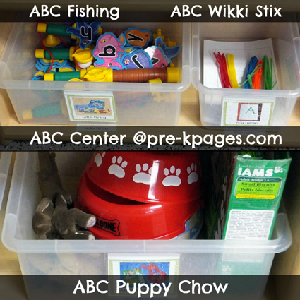 ABC Center Activities for Pre-K, Preschool, or Kindergarten via www.pre-kpages.com