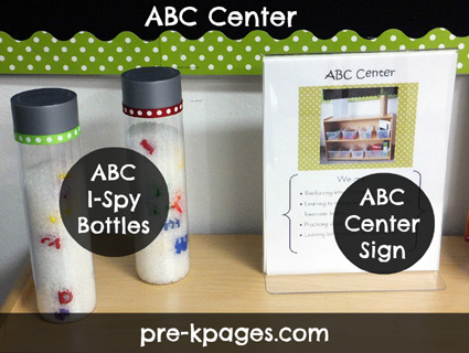 ABC Center Materials - Alphabet Discover Bottles via www.pre-kpages.com