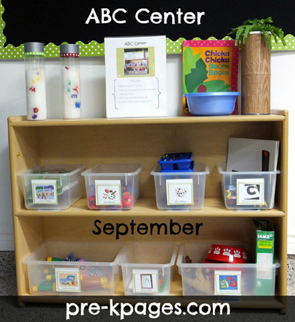 How to set up an ABC Center in your Pre-K, Preschool, or Kindergarten classroom via www.pre-kpages.com