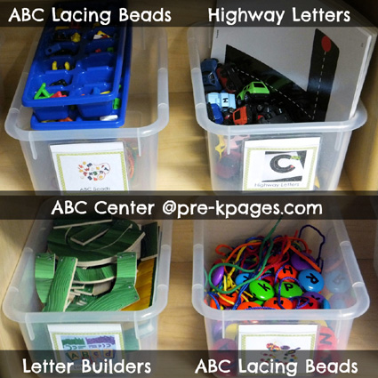 Materials in the ABC Center for your pre-k, preschool, or kindergarten classroom via www.pre-kpages.com