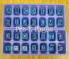 alphabet stamps in ice cube trays