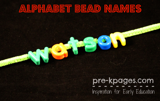 Making Names with Alphabet Beads in #preschool and #kindergarten