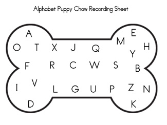 Free Printable Alphabet Puppy Chow Recording Sheet via www.pre-kpages.com