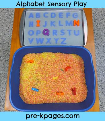 Alphabet sensory play activity via www.pre-kpages.com