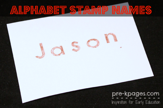 Stamping Names with Alphabet Stamps in #preschool and #kindergarten