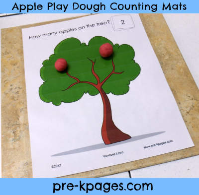 Free Apple Play Dough Counting Mats via www.pre-kpages.com