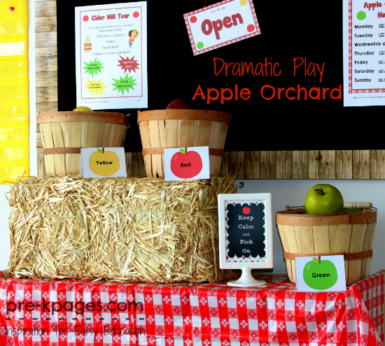 Apple Orchard Dramatic Play Theme in #preschool and #kindergarten