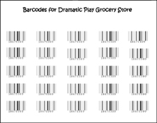 Printable Grocery Store Bar Codes for Pretend Play