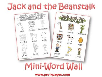 jack and the beanstalk mini word wall