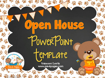 Bear Open House PowerPoint Template for #preschool and #kindergarten $2