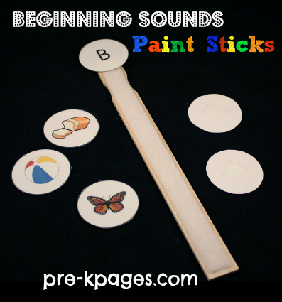 Free Beginning Sounds Paint Stick Activity for Letters A-Z from Pre-K Pages