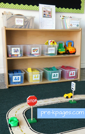 Roadway Puzzle System in Preschool Block Center via www.pre-kpages.com