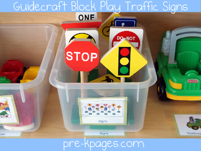 Guidecraft Block Play Traffic Signs via www.pre-kpages.com
