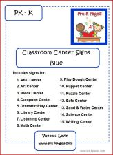 blue classroom center signs