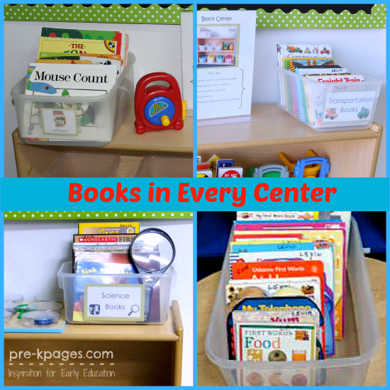 Add Books to Every Center in the #classroom in #preschool and #kindergarten