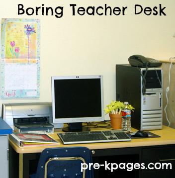Boring teacher desk before makeover via www.pre-kpages.com