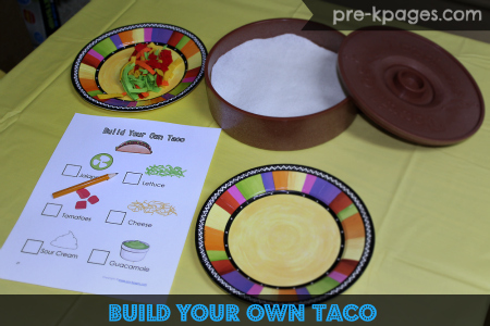 Build Your Own Taco Menu for Mexican Restaurant Dramatic Play Center in preschool and kindergarten