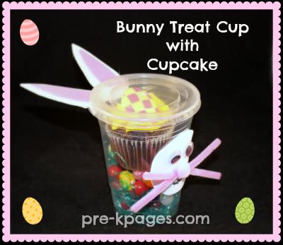 Bunny Cupcake Party Treat Cup for Preschool and Kindergarten via www.pre-kpages.com