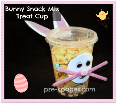 Bunny Snack Mix Treat Cup for preschool or kindergarten via www.pre-kpages.com