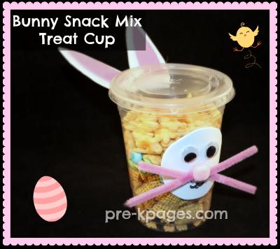 Bunny Snack Mix Treat Cup for preschool or kindergarten via www.pre-kpages.com