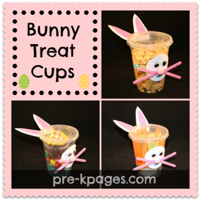 Easter Treat Cups with snacks, cupcakes, and veggies in them