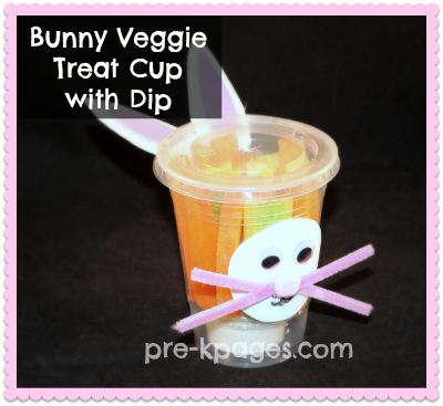Healthy Bunny Veggie Treat Cup for preschool and kindergarten