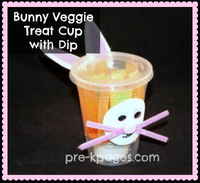 Healthy Bunny Veggie Treat Cup for preschool and kindergarten