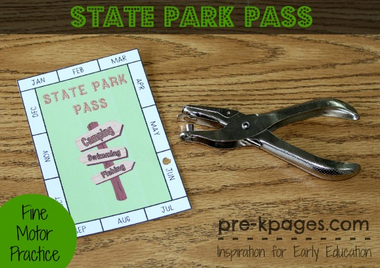 Dramatic Play Printable State Park Pass For Preschool And Kindergarten Fine Motor Skills