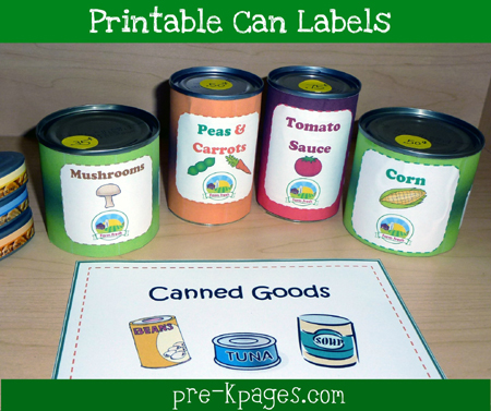 Printable Dramatic Play Can Labels