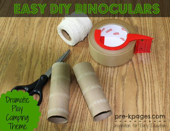 Easy DIY Binoculars for Dramatic Play Camping Theme in preschool and kindergarten
