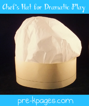 DIY how to make a chef's hat for your dramatic play center via www.pre-kpages.com