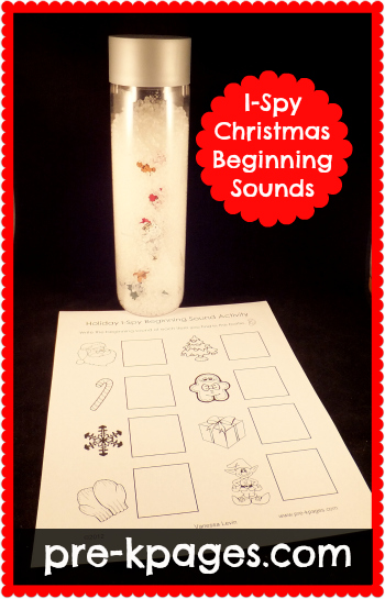 Christmas I-Spy Beginning Sounds Freebie Printable via www.pre-kpages.com