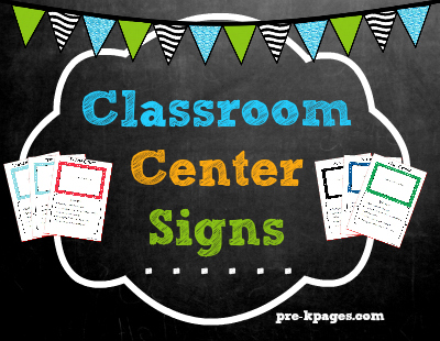 Printable Classroom Center Signs for pre-k and kindergarten