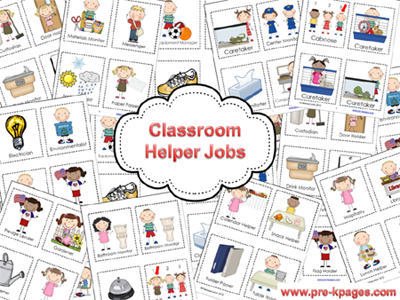 Classroom Helper Jobs Printable Packet via www.pre-kpages.com