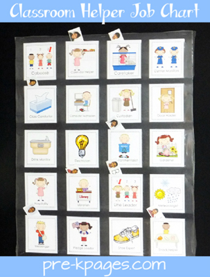 Classroom Helper Job Chart via www.pre-kpages.com