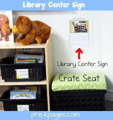 Classroom library center sign and crate seat via www.pre-kpages.com