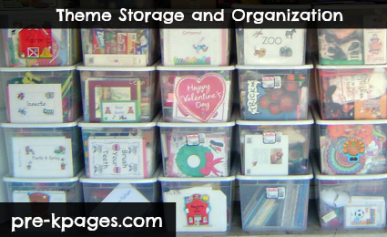 Theme storage tubs for teacher organization via www.pre-kpages.com