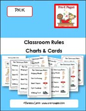 Classroom Rules Charts and Cards for Preschool and Kindergarten via www.pre-kpages.com