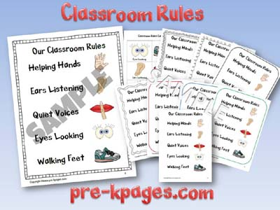 Printable Classroom Rules Charts and Cards for Pre-K and Kindergarten via www.pre-kpages.com