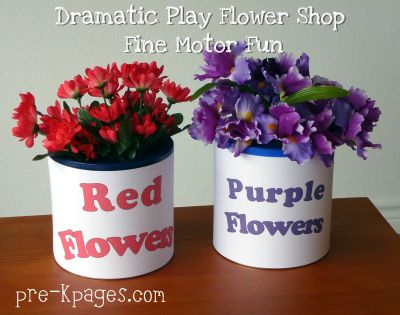 dramatic play flower shop fine motor fun