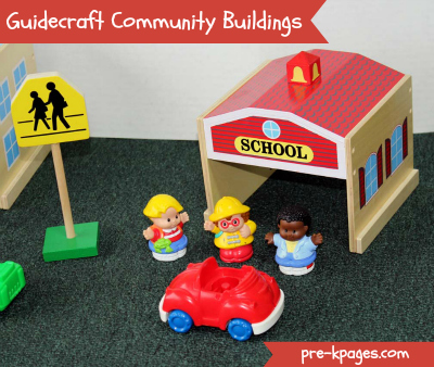 Guidecraft Community Buildings for Blocks Play via www.pre-kpages.com