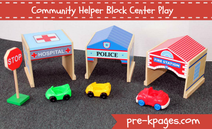 Community Helper Block Center Play via www.pre-kpages.com