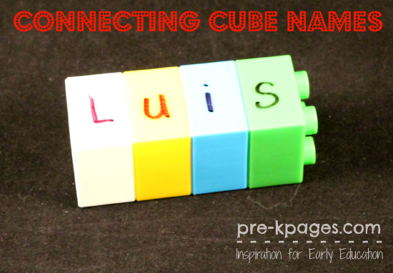 Making Names with Connecting Cubes in #preschool and #kindergarten