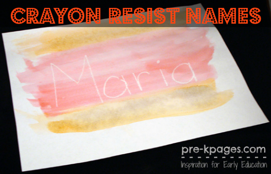 Crayon Resist Watercolor Names in #preschool and #kindergarten