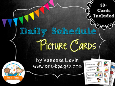 Printable Picture Schedule Cards for Pocket Charts in preschool, pre-k, and kindergarten