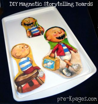cheap DIY magnetic board for retelling