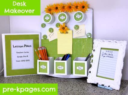 Teacher Desk Makeover Tutorial via www.pre-kpages.com